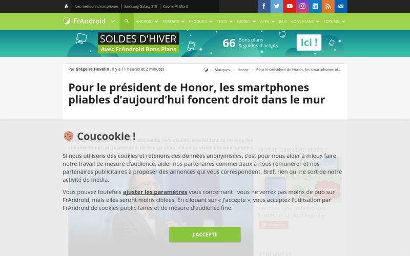 Pour le président de Honor, les smartphones pliables d'aujourd'hui foncent droit dans le mur - FrAndroid