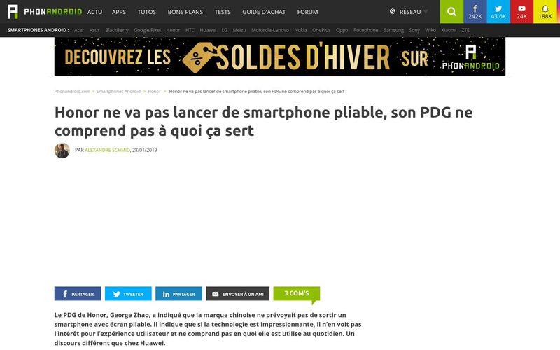 Honor ne va pas lancer de smartphone pliable, son PDG ne comprend pas à quoi ça sert - PhonAndroid