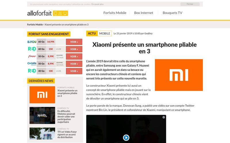 Xiaomi présente un smartphone pliable en 3 | alloforfait.fr