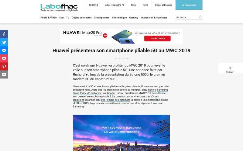 Huawei présentera son smartphone pliable 5G au MWC 2019 - LaboFnac