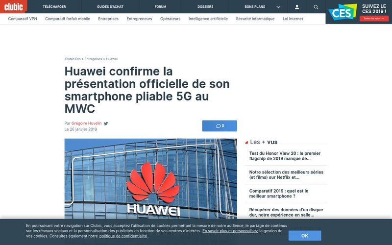 Huawei confirme la présentation officielle de son smartphone pliable 5G au MWC - Clubic